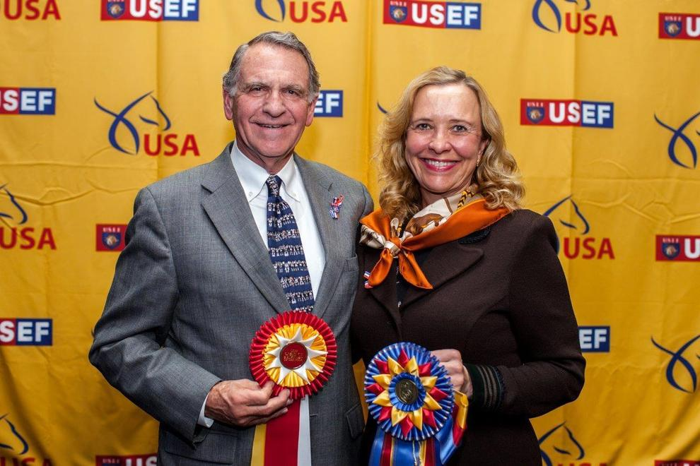 Dick and Nan Walden of Rancho Soñado with 2 National USEF Horse of the Year Awards in Lexington, KY on Jan 17. 2015.